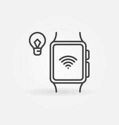 smart bulb connected with smartwatch via wifi vector image