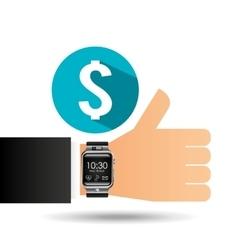 Smart watch on hand- money banking vector
