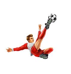 soccer player kicks ball on white background vector image