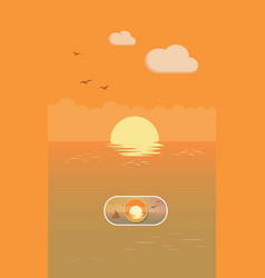 sunset landscape on off toggle switch button vector image