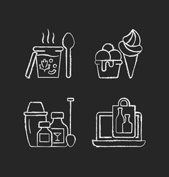 Takeaway and delivery option chalk white icons vector