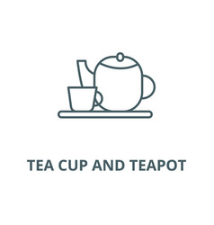 tea cup and teapot line icon linear vector image