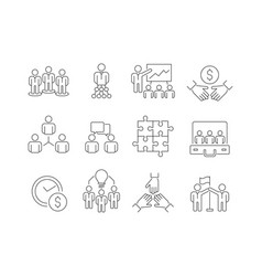 team building icons work group of business people vector image