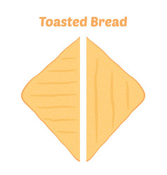 toast fried bakery cartoon flat style vector image
