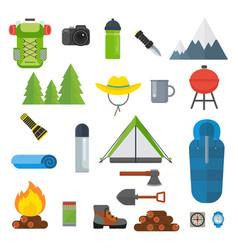 tourist equipment set vector image