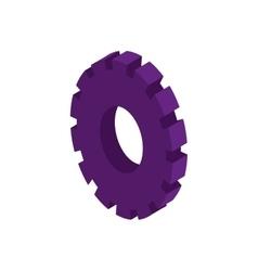 Tridimensional silhouette purple gear wheel icon vector