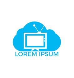 tv cloud logo design vector image