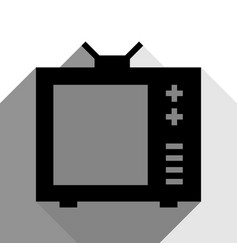 tv sign black icon with two vector image