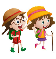 Two girls with stick and backpack go hiking vector