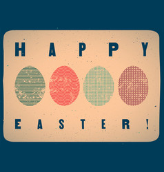 typographical grunge easter greeting card vector image