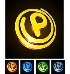 Vibrant 3d p letter vector image