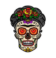 vintage mexican woman skull isolated on white vector image