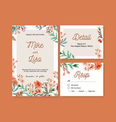 Vintage style floral ember glow wedding card vector