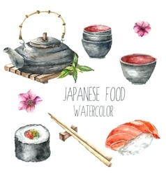 Watercolor Japanese food vector