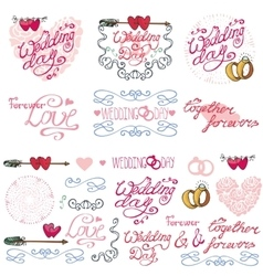 Wedding decor elements kitLabelscards vector image