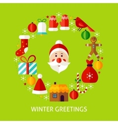 Winter greetings postcard vector