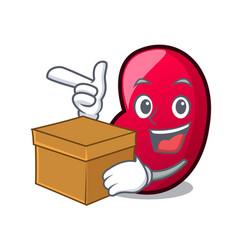 With box jelly bean character cartoon vector