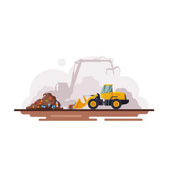Yellow bulldozer for garbage cleaning waste vector