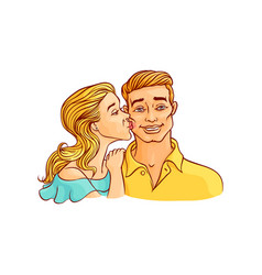Young girl kisses guy on cheek isolated on white vector