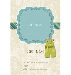 baby arrival card with photo frame in vector image vector image