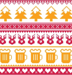Christmas seamless pattern with beer reindeer vector image vector image