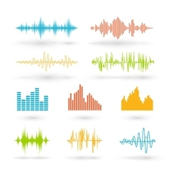Color sound waves vector image