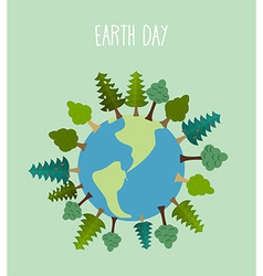 earth day Earth with trees geometric trees and vector image vector image