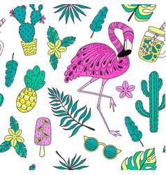 seamless pattern with flamingo exotic leaves vector image vector image