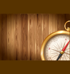 vintage compass on wooden background vector image