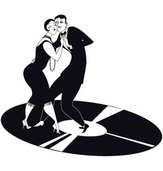 Couple dancing tango on a vinyl record vector image vector image