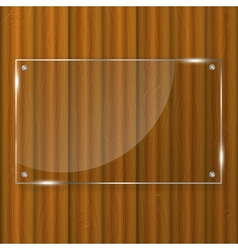 Glass frame on wood background vector image vector image