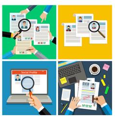 set of job interview concept vector image