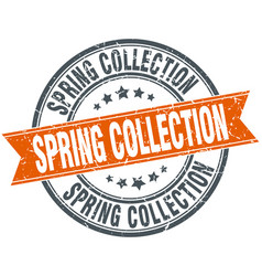 Spring collection round orange grungy vintage vector