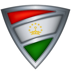 steel shield with flag tajikistan vector image vector image