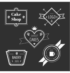 Abstract cake vintage logo elements set vector image