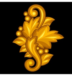 Baroque ornamental antique gold element on black vector