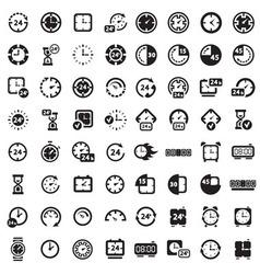 Big black clock icons set vector