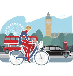 cycling girl vector image