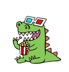 funny dinosaur in 3d glasses and a box of popcorn vector image vector image