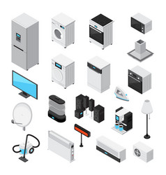 household appliances isometric icons set vector image