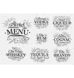 Set alcohol menu vintage vector image
