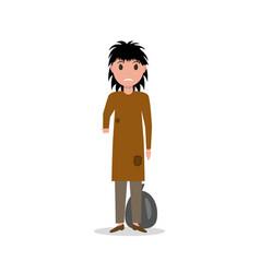 cartoon woman indigent beggar homeless vector image