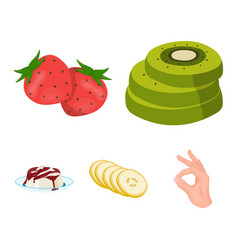 fruits and other food food set collection icons vector image vector image