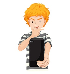 Man with blond hair taking picture vector image vector image