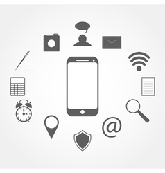 mobile phone and Icons vector image