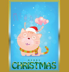 santa cat is waiting for love from darling vector image vector image