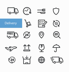 shipment and delivery icons vector image vector image