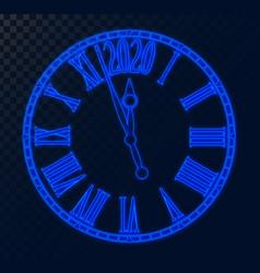 2020 new year card blue neon futuristic clock vector image