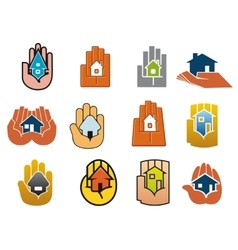 Abstract icons of houses in hands vector image