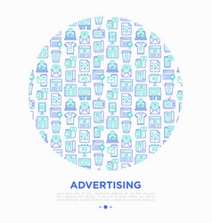 advertising concept in circle with thin line icons vector image